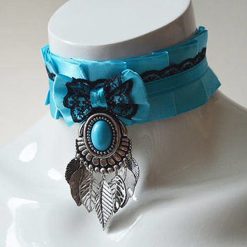 Lolita collar - Tribal turquoise - blue and black western style boho choker - ddlg kittenplay kitten play nekollars cute cosplay costume