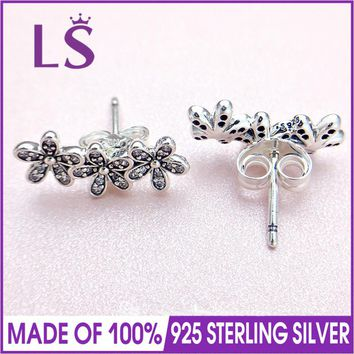 LS 925 Sterling Silver Earring Dazzling Daisy Clusters With Crystal Studs Earring For Women Wedding Party Gift Fine Jewelry.W