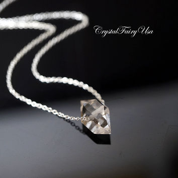 Herkimer Diamond Necklace, M Size Simple Herkimer Diamond Sterling Silver Necklace,  Tiny Quartz Crystal Choker , April Birthstone