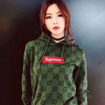 Supreme x Gucci Women Hot Hoodie Cute Sweater