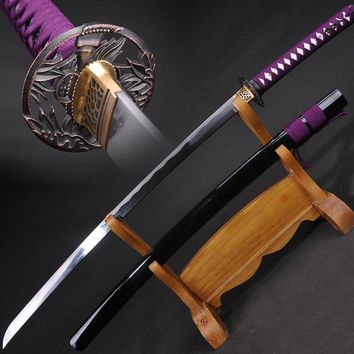 Handmade Katana Japanese Samurai Sword  Oil Quenched Folded Steel Full Tang Blade Very Sharp Battle Ready Can Cut Trees