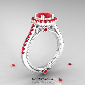 Caravaggio 14K Ceramic White Gold 1.0 Ct Rubies Engagement Ring, Wedding Ring R621-14KCWGR