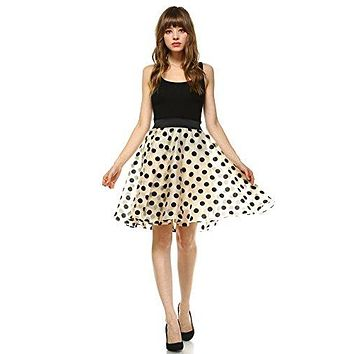 Women Velvet Polka Dot Bias Cut Flare Organza Short Skirt