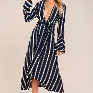 Faithfull the Brand Carioca Navy Blue Striped Wrap Dress