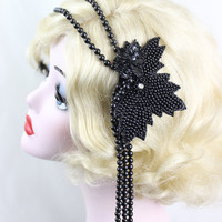 Black Flapper Headpiece, Art Deco Headband, Hair Accessory, 1920s Headband, Great Gatsby, Steampunk Costume, Victorian Headpiece, Fascinator