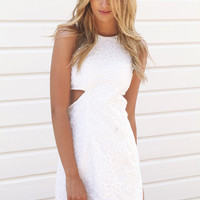 White Daisy Pattern Mini Dress with Cutout Side Detail