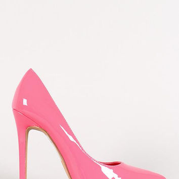 Shoe Republic Patent Pointy Toe Stiletto Pump Color: Red, Size: 5.5