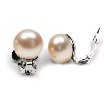 Bling Jewelry Pink Button Freshwater Cultured Pearl Clip On Earrings Rhodium Plated