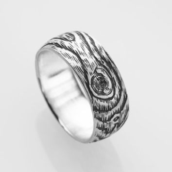 \PLYWOOD sterling silver woodgrain ring from Ball and Chain jewelry