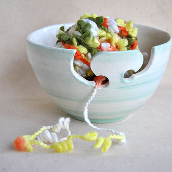 Yarn Bowl Hand Painted in green turquoise color, with Double Hitch and Dots