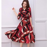 Women Dress Floral Print Work Business Casual Party Vestidos Free Shipping Long Maxi Dresses 145