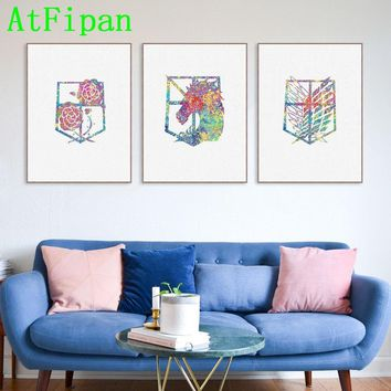 Cool Attack on Titan AtFipan No Frame Japanese Animation  Watercolor Badge Modular Canvas Painting On The Wall Picture For Living Room AT_90_11