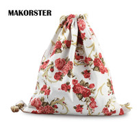 MAKORSTER Summer Canvas Backpack beach drawstring bag Fashion teenage girls Flowers Backpacks for Women adventure time MK061