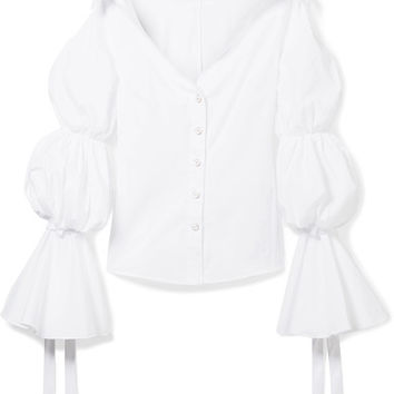 Caroline Constas - Margaret off-the-shoulder cotton-blend poplin blouse