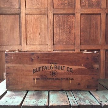 Large Vintage Wood Crate, Buffalo Bolt Co. North Tonawanda NY, Vinyl Record Storage