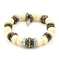 Tribal Bead Combination Elastic Bracelet with Rondelle and Silver Rings