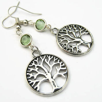 Tree of Life Birthstone Earrings, Personalized Family Tree Earrings, Nature Earrings, Tree Jewelry, Tree Charm Earrings, Arborist Earrings