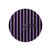 Bellflower Violet And Vertical Black Stripes Round Clock from Zazzle.com