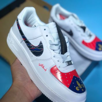 HCXX N303 Nike Air Force 1 AF1 Off White Just Do It Leather Low Casual Skate Shoes White Black Red