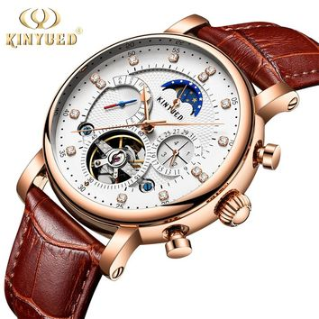 KINYUED Moon Phase Top Brand Mens Mechanical Watches Automatic Tourbillon Skeleton Watch Men Calendar Relogio Masculino dropship