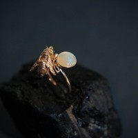 14K yellow gold bee ring with opal, solid gold ring, opal ring, opal jewelry, bee jewelry, unique gold ring, ring size 7, estate ring