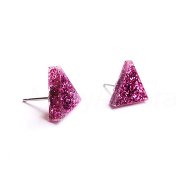 Fuchsia Glitter Triangle Stud Earrings,Hot Pink Glitter Earrings,Sparkle Earrings,Geometric Jewelry,Tiny Pyramid Studs (E239)