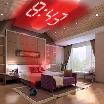 LCD Projection LED Display Time Digital Alarm Clock, Talking Voice Prompt Thermometer, Snooze Function Desk CLOCK