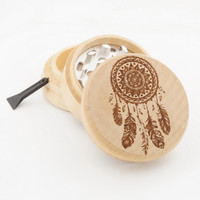 "Wood Grinder - Feather Dream Catcher - 2"" Custom Herb Grinder - Spirit Series"
