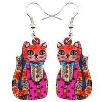 Bonsny Fashion Big Long News Acrylic Drop Dangle Anime Lucky Cat Earrings Unique Style Fashion Jewelry For Girls Women Teen Gift