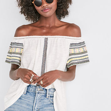Embroidered Off The Shoulder Top | Lucky Brand