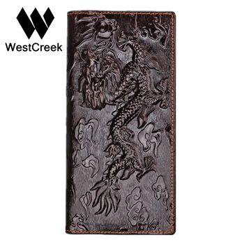 Brand Unique Design Chinese dragon Pattern Genuine Leather Men's Wallets High Quality Really Leather Purse by GMW008