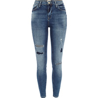 River Island Womens Mid wash ripped Lana superskinny jeans