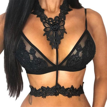 Hlater Neck Black/Pink Crop Tops Women Sexy Floral Lace Sheer Crochet Ladies Tops Seamless Bralette Camisole Female #23 BL
