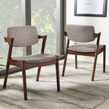 Baxton Studio Elegant Mid-Century Dark Walnut Wood Grey Fabric Upholstered Dining Armchair Set of 2
