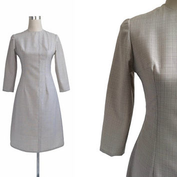 Grey 1960's Dress - 60's Dress - Vintage Dress - Grey Check Dress - Terylene Wool - XS Small