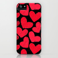 Sketchy hearts in red and black iPhone & iPod Case by Silvianna