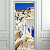 "Door STICKER Greek Greeck town streets travel mural decole film self-adhesive poster 30x79"" (77x200cm) /"