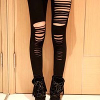 Striped Cut Out Black Skinny Leggings