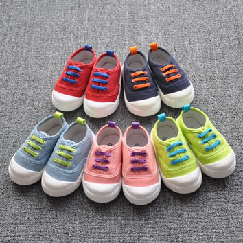 2016 Hot sale Insole 13~16.3cm children shoes for kids casual shoes baby boys and girls canvas  shoes candy 5 colors