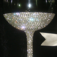 Custom designed handmade wine glass, goblet with Czech rhinestones