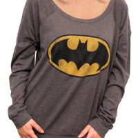 Khaki Batman Print Long Sleeve Pullover Sweatshirt