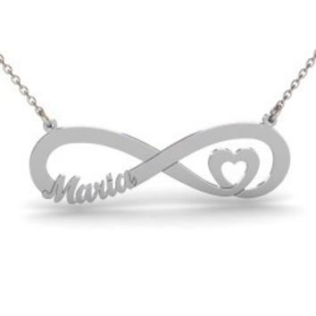 Sterling Silver Infinity Heart Name Necklace