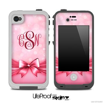 Magical Pink Bow Custom Monogrammed V2 Skin for the iPhone 5 or 4/4s LifeProof Case