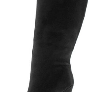 PRIYA BLACK LASER CUT KNEE HIGH BOOT
