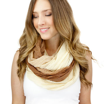 TAN BROWN OMBRE scarf, infinity scarf, ombre viscose gauze scarf