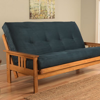 Andover Full Size Futon Sofa Bed, Honey Oak Wood Frame, Suede Innerspring Mattress, Navy