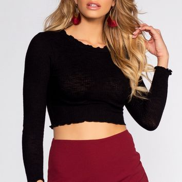 Heart Stopper Crop Top - Black