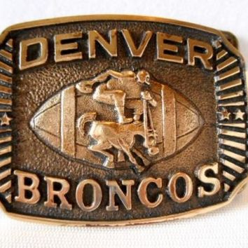 Vintage HERITAGE MINT LTD First Issue 1976 Denver Bronco Solid Brass Belt Buckle