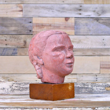 Anatomical Women's Head Sculpture, Vintage Ceramic Bust, Girl With Braids, Creepy Home Decor, Folk Art Sculpture