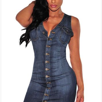 Women Party Button Down Sleeveless Denim Dresses Summer Fashion Sexy Package Hip Dresses